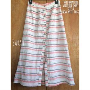 Reformation Ventura Skirt in Sundeck Stripe